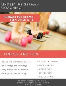 Fitness and Fun in the Summer. Programs for Teen Girls ages 12-18. Strength training, nutrition talk, body image, goal setting and more.
